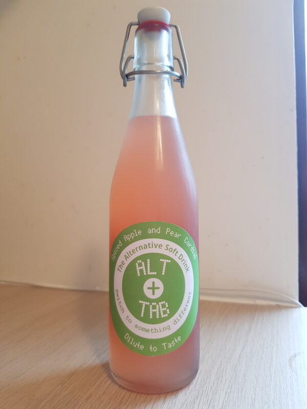 A bottle of Spiced Apple and Pear Cordial 500ml